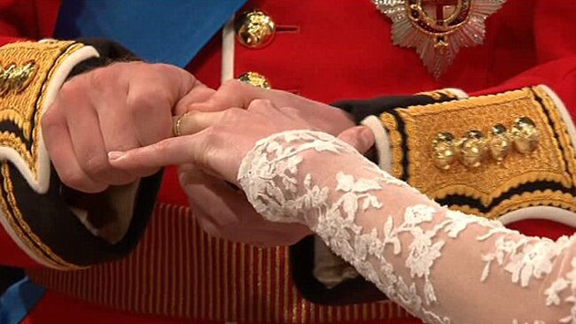 William struggles to get the wedding ring on Kate's finger. It was the only upset during the ceremony. Picture: BBC