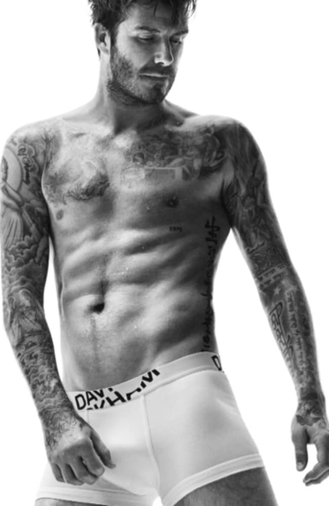 Looking good: Beckham shows off his new knickers