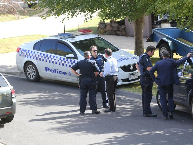 The Geelong home is being treated as a crime scene. Picture: Mike Dugdale
