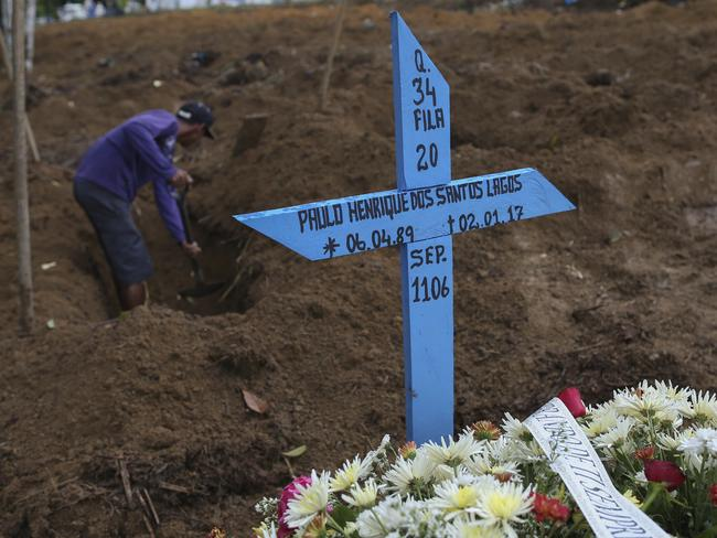 A man digs a grave for an inmate killed in a prison riot at the Parque Taruma cemetery in Manaus, Brazil. Picture: AP