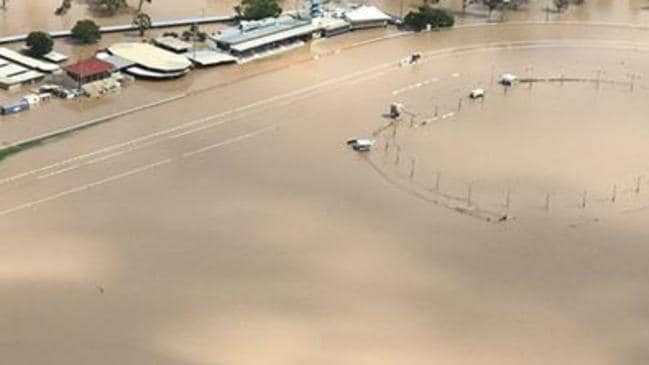 Supplied image of Rockhampton Race Track flooded