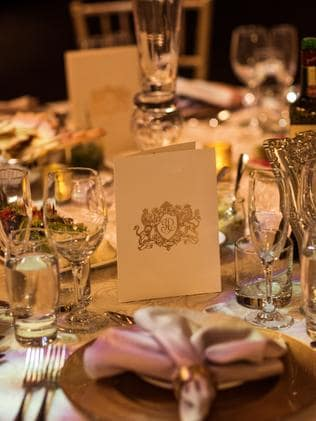 The table settings at their wedding reception, held at Sydney Town Hall.