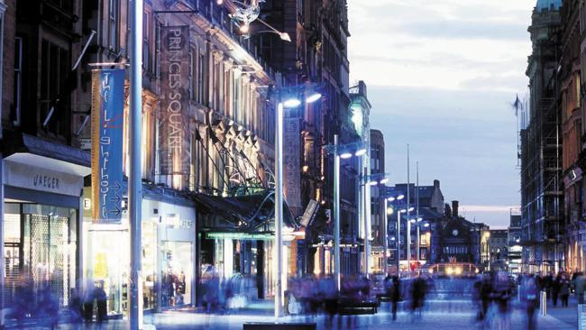 Buchanan Street in Glasgow by night.