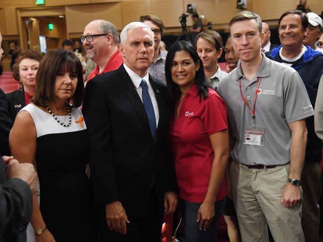 Karen and Mike Pence with American Red Cross of Southern Nevada public information officer Cynthia DeLaTorre and CEO of the American Red Cross of Greater New York Josh Lockwood in Las Vegas. Picture: Getty