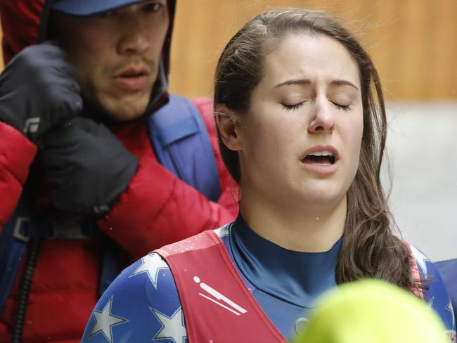 Sweeney was visibly hurting after the crash. Picture: Arnd Wiegmann/Reuters