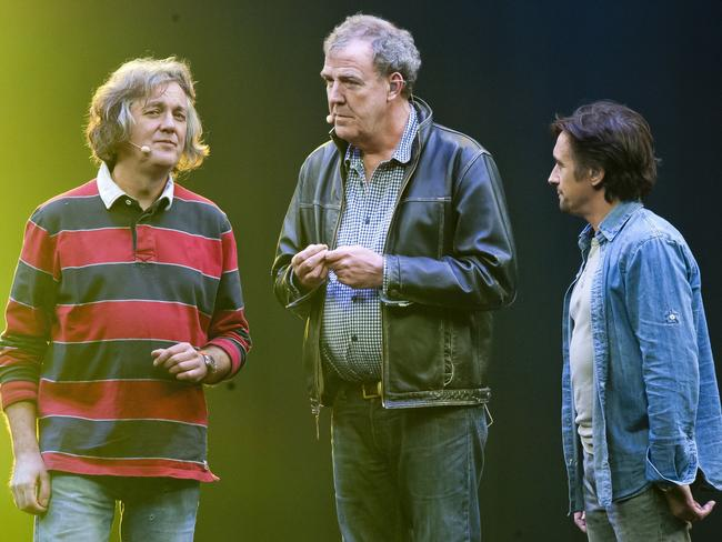 Three stooges ... James May, Jeremy Clarkson and Richard Hammond left Top Gear last year. Picture: Supplied