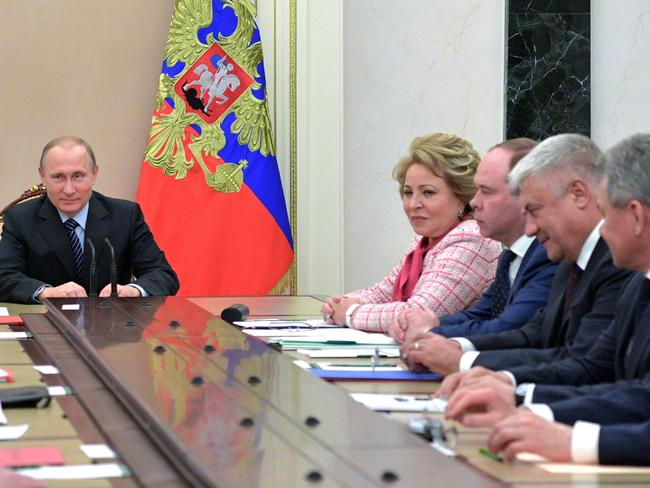 Russian President Vladimir Putin chairs a Security Council meeting in Moscow last Friday. Picture: Alexei Druzhinin/AP