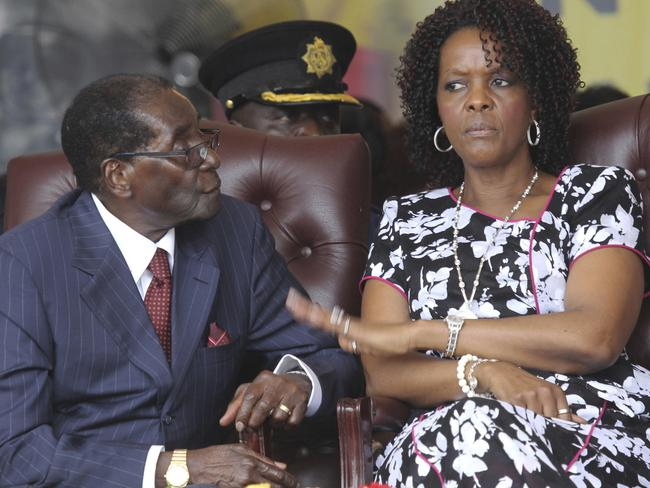 Robert Mugabe pictured with wife Grace last year. Picture: Tsvangirayi Mukwazhi/AP