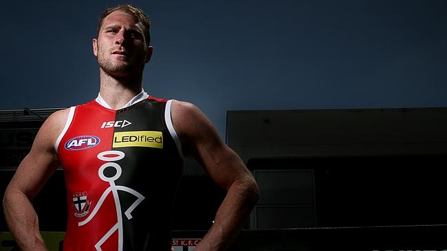 New St Kilda recruit Luke Delaney models the NAB Challenge jumper the Saints will be wearing this pre-season. It seems to have been given a thumbs up from most on social media. Picture: Colleen Petch