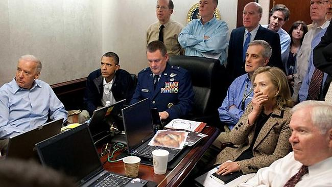 Famous scene ... the US National Security Council keep track of the progress of the mission to kill Bin Laden. Picture: The W...