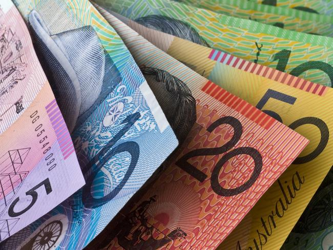 """Stock Photo of Australian Money, Five, Ten, Twenty, Fifty and One Hundred Dollar Notes"""