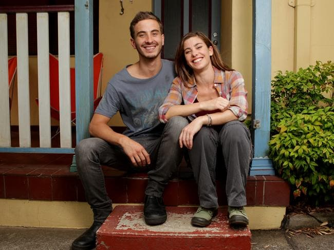 Brooke Satchwell and Ryan Corr on the set of Packed to the Rafters.
