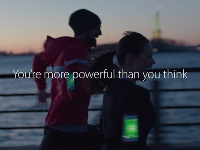 The iPhone ad promotes Apple's new range of fitness products.