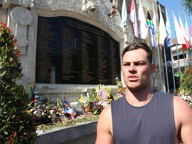 Australian Jackson Garlick in Bali to represent his family and commemorate the 15th anniversary of the Bali bombing. Jackson lost eight relatives in the attack at the Sari Club, Legian Kuta in 2002. Picture: Lukman S.Bintoro