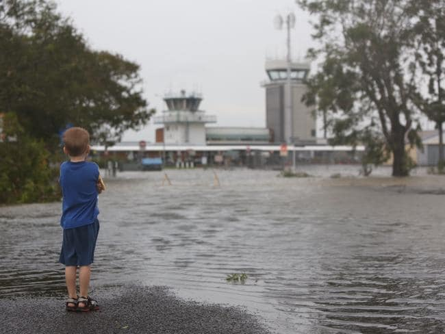 Flooding at Rockhampton airport after Cyclone Marcia. Nate Sinclair surveys the damage. Picture: Geoff Sinclair