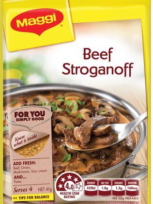 The Beef Stroganoff recipe base sachet.