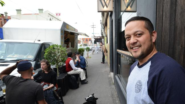 Beatbox Kitchen's Raph Rashid park's outside Mr Wilkinson bar on Lygon Street, Brunswick East.