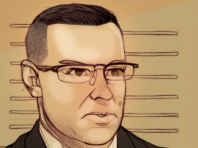 A court sketch of Gerard Baden-Clay on the stand yesterday.