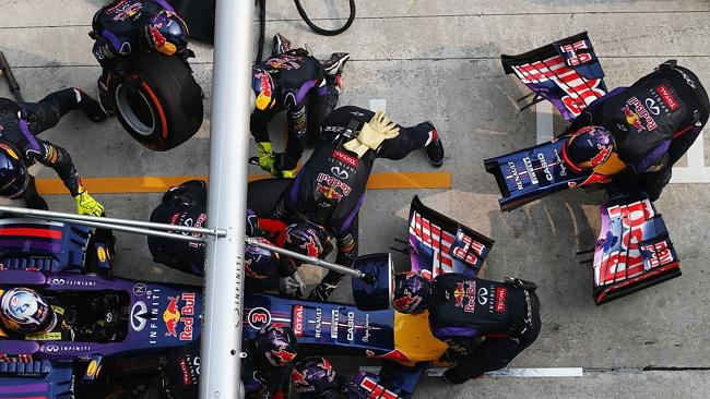Ricciardo's car gets a front nose change during the race.
