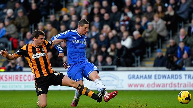 Fernando Torres consolidates Chelsea's lead over Hull.