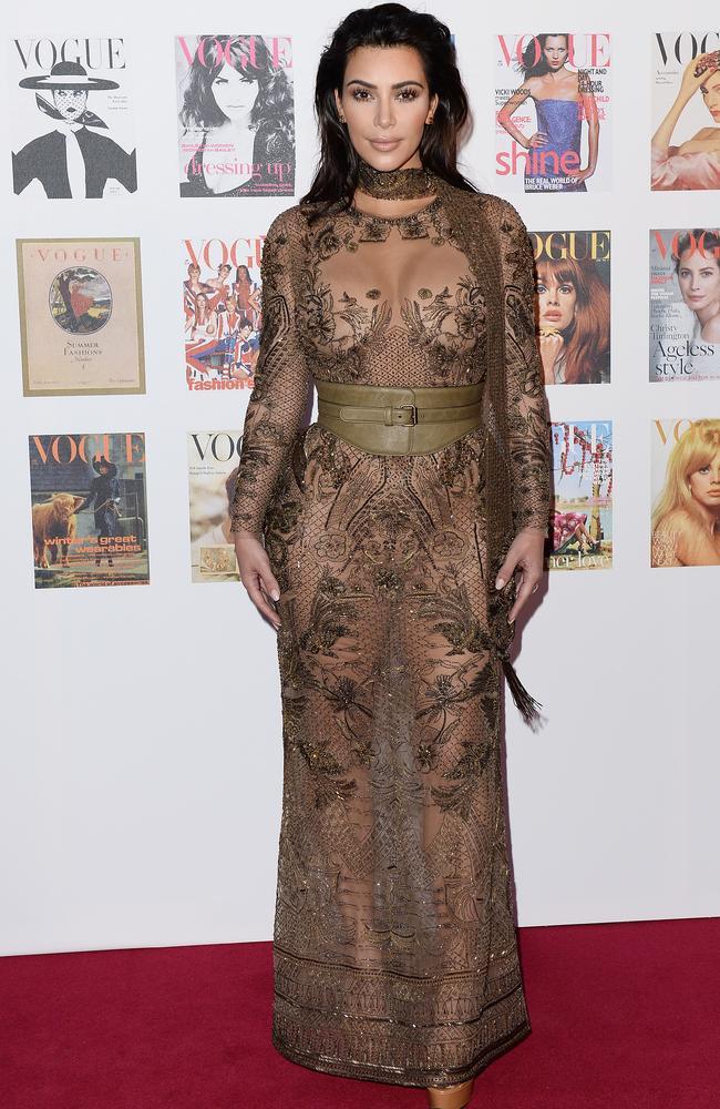 Kim Kardashian Wears a Sheer Metallic Naked Dress on Instagram