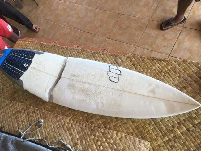 A photo showing a surfboard broken in two was posted by locals to social media. Picture: Facebook