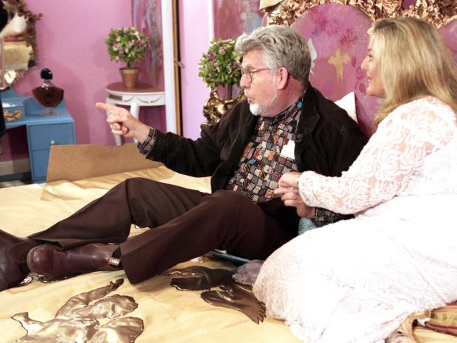 Jailed ... Harris on the bed with Vanessa Feltz on The Big Breakfast show.