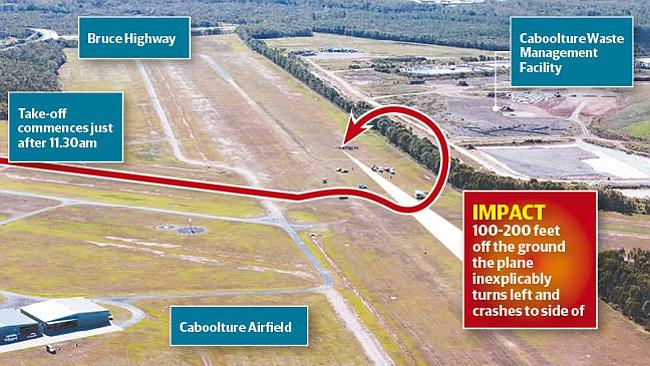 How disaster struck just after takeoff at Caboolture yesterday.