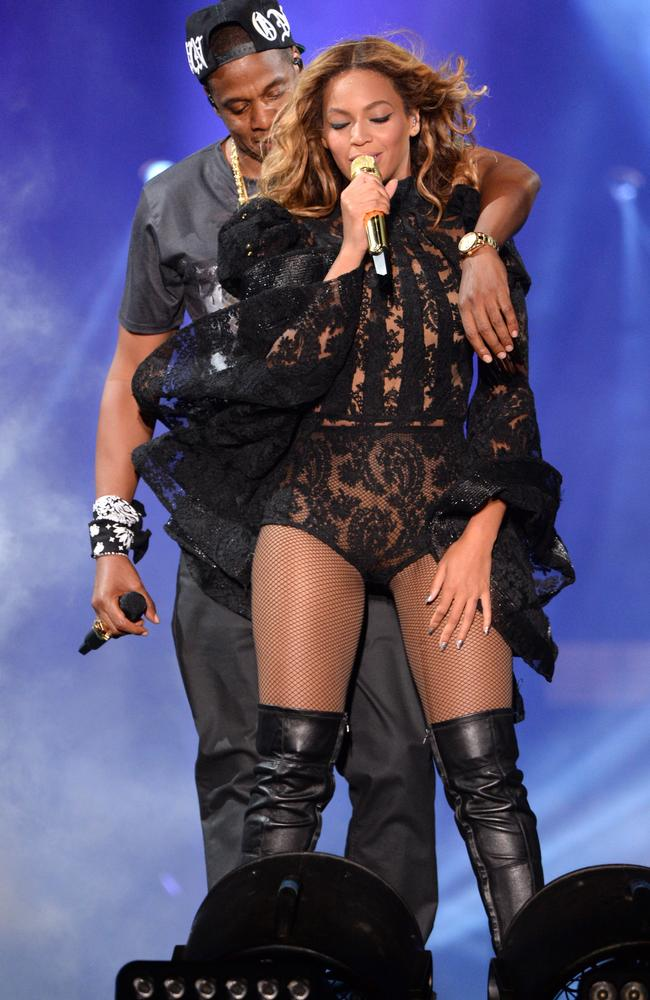 Putting on a show ... Jay-Z and Beyonce perform during the On The Run Tour: Beyonce And Jay-Z at MetLife Stadium on July 11, 2014 in East Rutherford, New Jersey. Picture: Getty