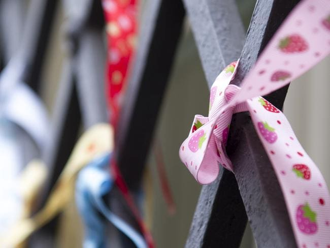 The ribbons placed on window grates at Domus Australia, where Cardinal George Pell usually gives mass. The ribbons are placed as part of the Loud Fence Movement, in a show of support for victims of child clergy sex abuse. Picture: David Mirzoeff / i-Images