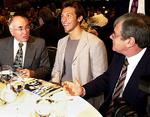 <p>There to see him ... dining with now former Prime Minister John Howard and Channel Seven boss Kerry Stokes, for the Ian Thorpe book launch / Brad Newman</p>