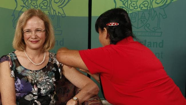 The gentle jab ... Queensland Health chief Health Officer Dr Jeannette Young gets her flu vaccination. Picture: Supplied