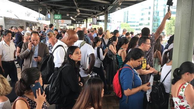 Vexed commuters left waiting at Central station. Picture: Clare Blumer/Twitter