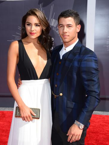Olivia Culpo, left, and Nick Jonas arrive at the MTV Video Music Awards 2014. Picture: Getty