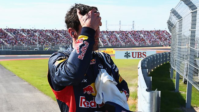 Mark Webber retires early from the US Formula One Grand Prix at the Circuit of the Americas in Austin, Texas. Picture: Clive Mason