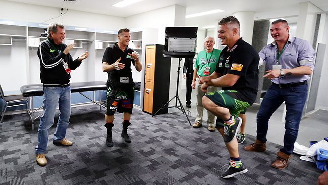 "Green v Cameron: Danny pre fight in his dressing room dancing ""gangnam style"". In a pre fight tradition he makes ALL the peolpe in the room dance one by one. His brother Brendon ""BG"" Green dancing. Picture: Sam Ruttyn"