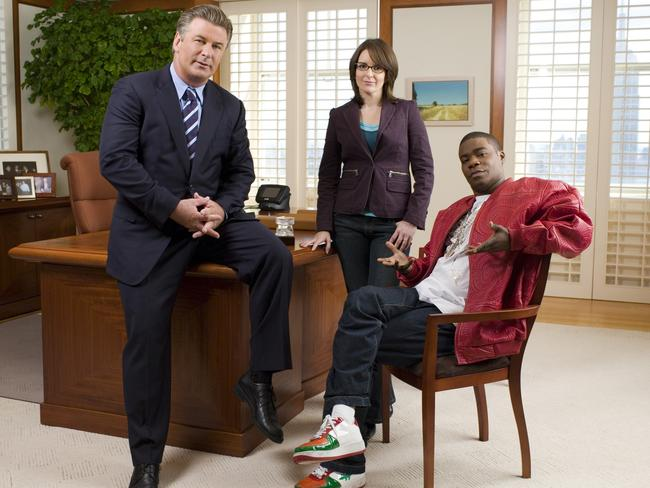 TV success ... Morgan with fellow 30 Rock cast members Alec Baldwin and Tina Fey.