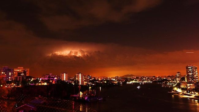 Weather photo Saturday night at the Story Bridge with lightning clouds. Picture: Adam Armstrong