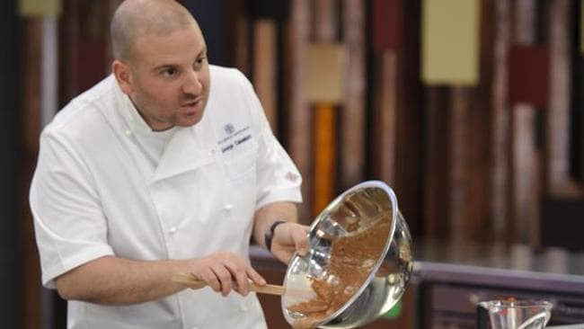 Masterchef Australia juydge George Calombaris makes a hazelnut chocolate pudding.