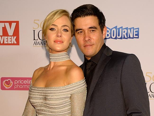 Jessica Marais and partner James Stewart during the Red Carpet Arrivals ahead of the 56th TV Week Logie Awards 2014.