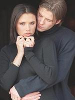 The pair fell in love and announced their engagement soon after: David Beckham and fiance Victoria Adams pose for photographers outside their hotel after the announcement of their engagement on January 25, 1998 in Chester, United Kingdom. Picture: Getty