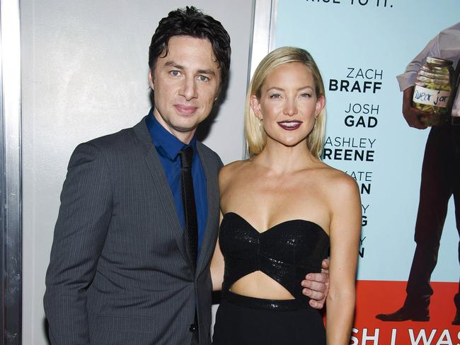 "New movie ... Zach Braff and Kate Hudson attend the premiere of his Kickstarter-funded film ""Wish I Was Here"" on July 14 in New York. Picture: AP"