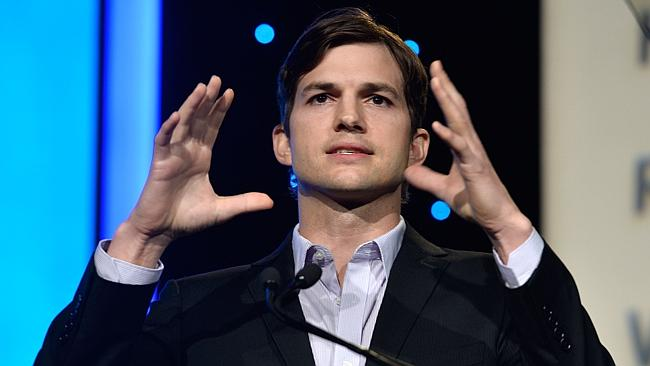 Ashton Kutcher speaks at the Human Rights Watch Voices For Justice Dinner. Photo: Getty