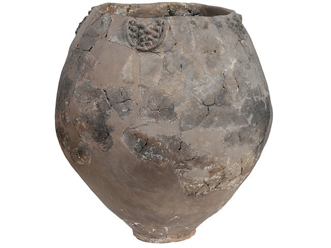A neolithic jar from Khramis Didi-Gora, Georgia. Pottery fragments from 8000-year-old jars unearthed near the Georgian capital, Tbilisi, are the earliest evidence of winemaking in the Near East, bringing the tradition back almost 1000 years earlier than thought. Picture: AFP / Georgian National Museum
