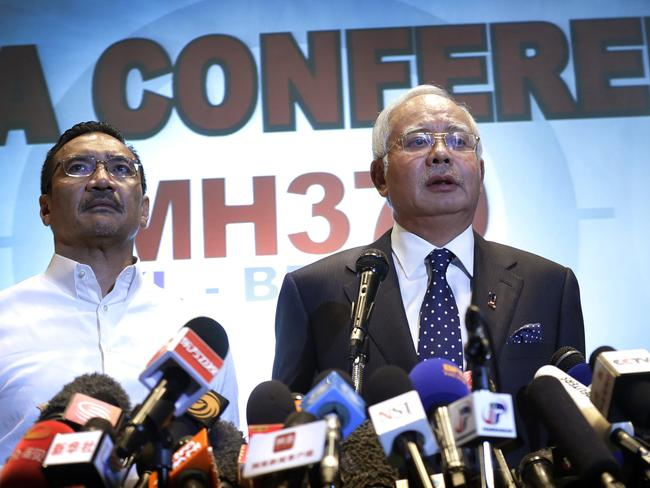 Then-Malaysian prime minister Najib Razak, right, with Transport Minister Hishammuddin Hussein. Picture: AP