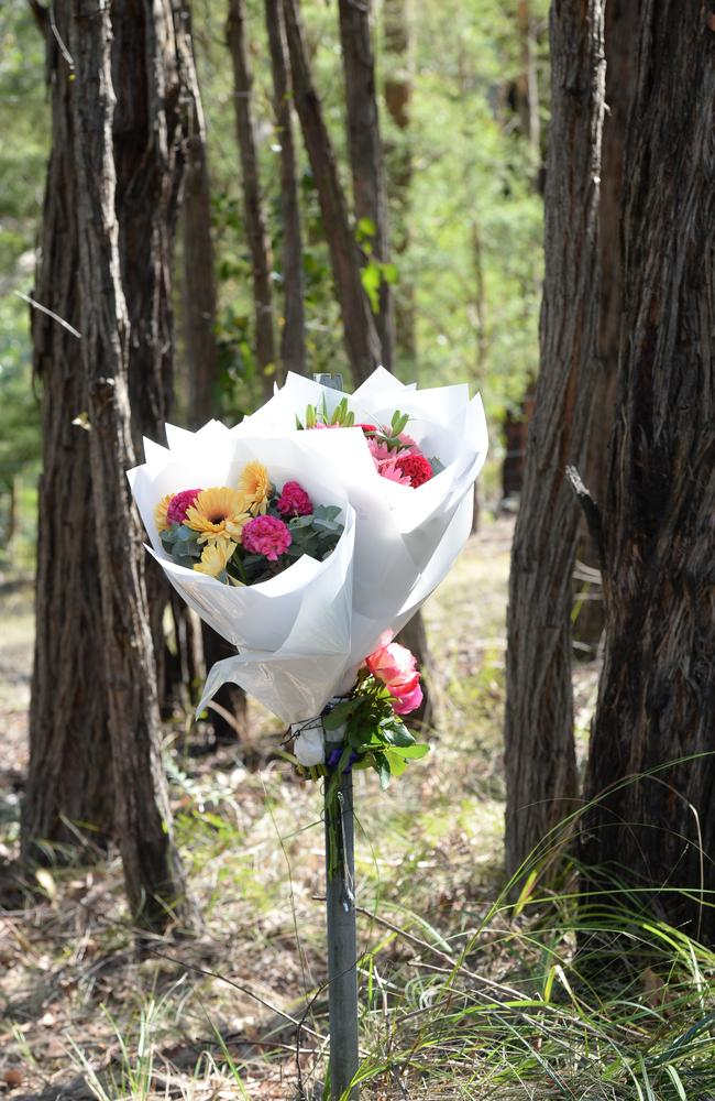 Flowers placed at the scene in a makeshift memorial after the deadly crash. Picture: Lawrence Pinder