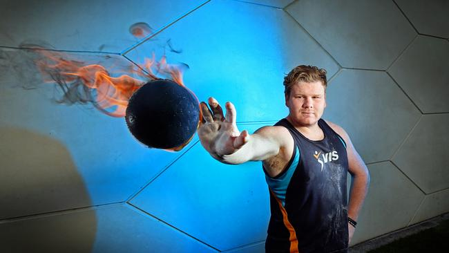 Damien Birkinhead, Shot Put. Picture: Alex Coppel