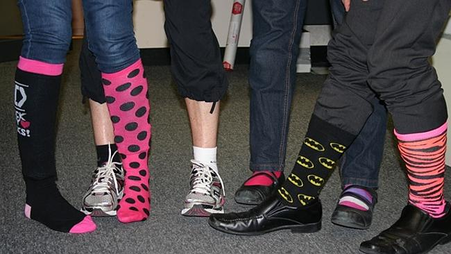 Wearing odd socks over your pants is a bold move, but we like it. Pic: Jo Clydesdale
