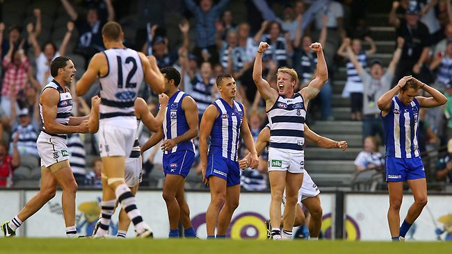 Teams like Geelong have made a habit of makign big comebacks so far in 2013. Picture: George Salpigtidis