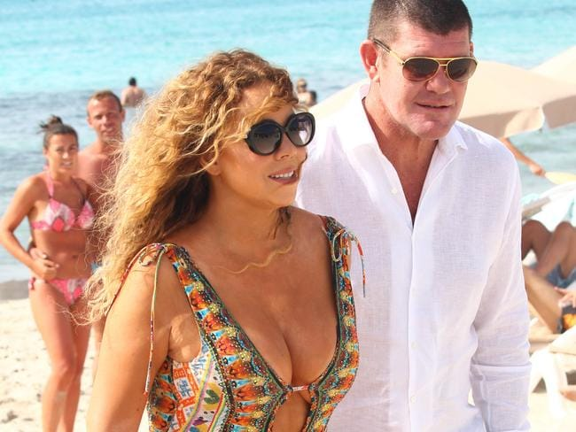 Mariah Carey and James Packer arriving on the beach in Formentera, Spain. Picture: Splash